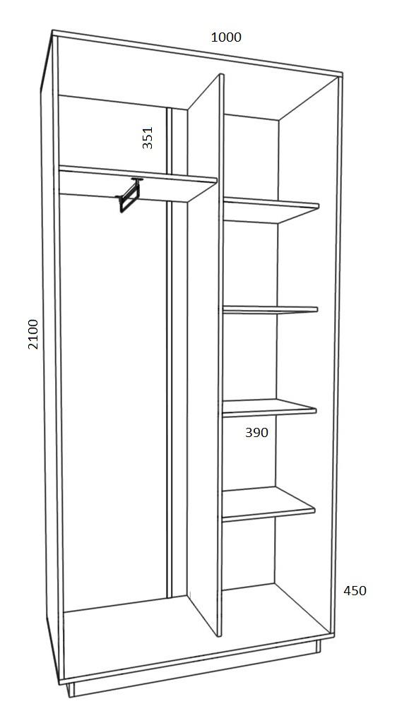Шкаф-купе ширина 1000 -92