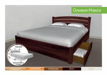 Деревяне ліжко з ящиками Олівія Максі-91