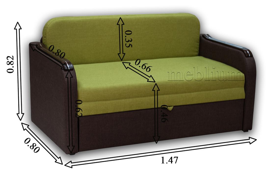 Диван Гном-Д 130-89 Габаритные размеры дивана: