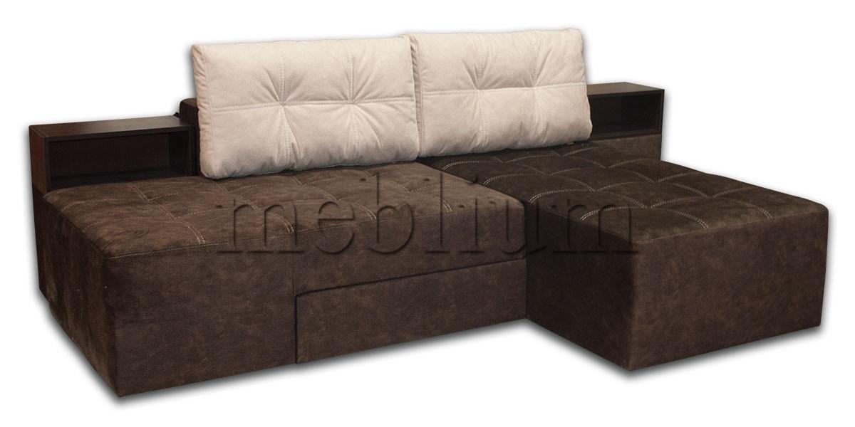 Диван Кутовий Доміно 2 -12 граніт 02 + граніт 09 Варіант обивки: весь диван - граніт 02, подушки - граніт 09