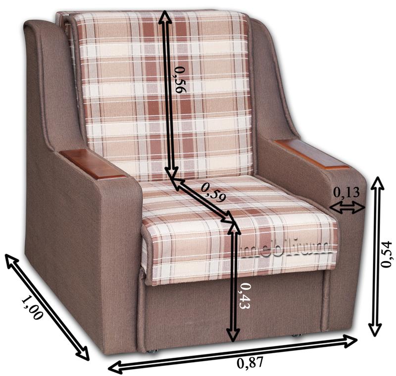 Крісло ЕШ-12 Саванна грей + Саванна хезел Габаритні розміри