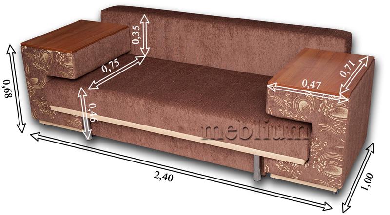 Диван с столом Астра 105-10 Габаритные размеры