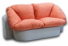 Бесскаркасный диван Иванна 120 с периной-12 Вариант 1: основа- Нео Беж, координат- Holst мандарин