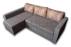Угловой диван Мария 2-94 Вариант обивки: весь диван - серый, подушки - абстракция