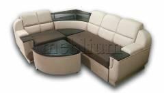 Угловой диван Меркурий-89 Вариант обивки : основа - Саванна кемел, координат - Саванна шоколад