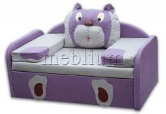 Детский диван МИШУТКА-14 Вариант обивки: Фиолетовый + сиденье беж