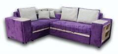 Диван угловой Монреаль 2б-10 Вариант обивки: весь диван виолет, подушки - милк