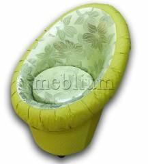 Кресло-банкетка-9 Вариант 16: Основа - Зеленые цветы, координат - Нео эпл
