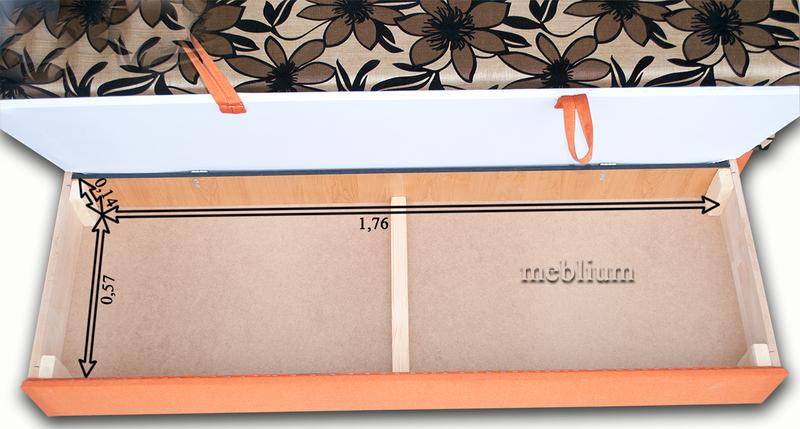 Диван Париж 1 люкс  Рио 368 Размеры ниши для белья:
