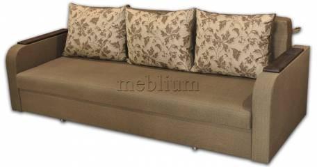 Диван Поліна Еко -42 Гіга комбін грін, подушки - квіти коричневі