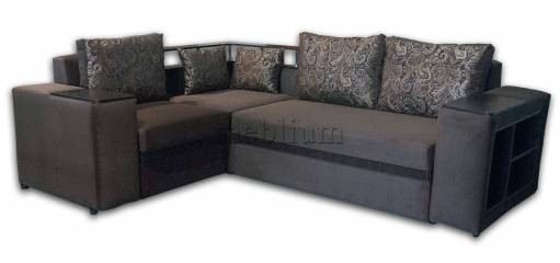 Угловой диван Монреаль с баром -10 Шагги шоколад рояль Вариант обивки: шагги шоколад рояль