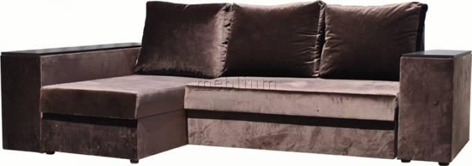 Угловой диван Оксфорд-42 Ткань: весь диван - глянс шоколад