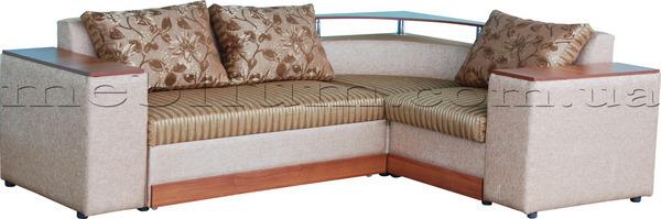 Кутовий диван Вашингтон New-10 Варіант 6: основа - лоріанс браун полоса, координат - ренесанс С-50, подушки - лоріанс браун (Мебтекс).