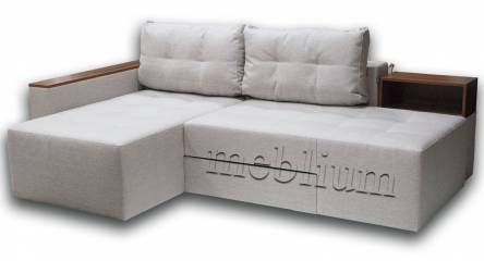 Угловой Диван Домино Л1-12 ТАКЖЕ ЭТУ МОДЕЛЬ ЗАКАЗЫВАЛИ В ТКАНИ :: весь диван - Хюго Крем