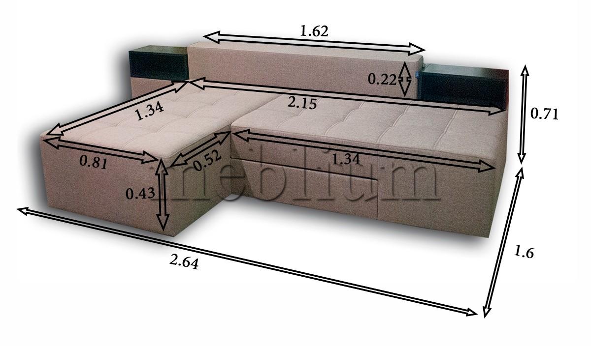 ПРОДАНО (можно под заказ) Диван трансформмер Meblium 20 -12 Savanna_Latte Габаритное фото