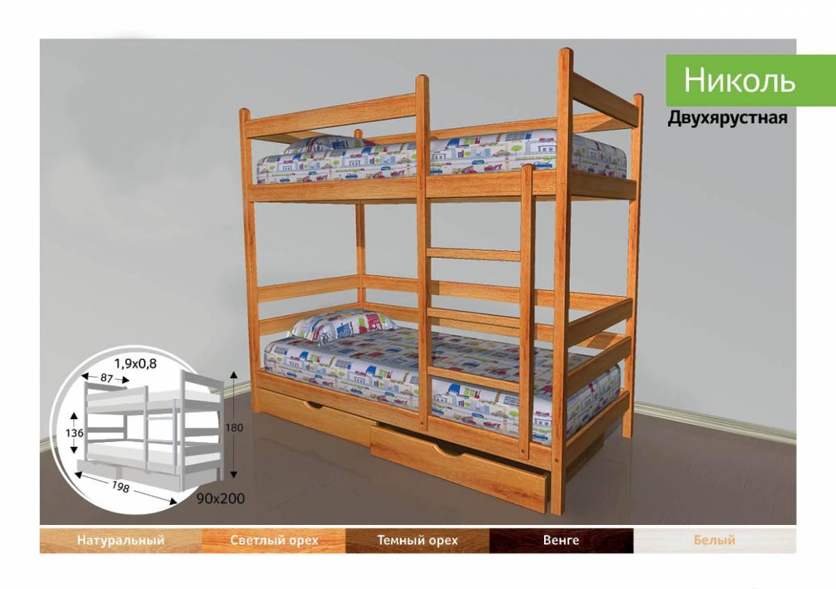 Детская двухярусная кроватка Николь-91