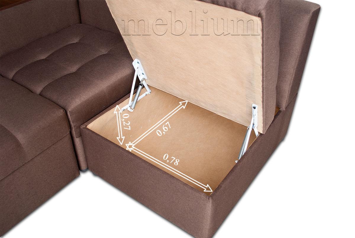 Угловой диван Голливуд -76 размеры ниши для белья: