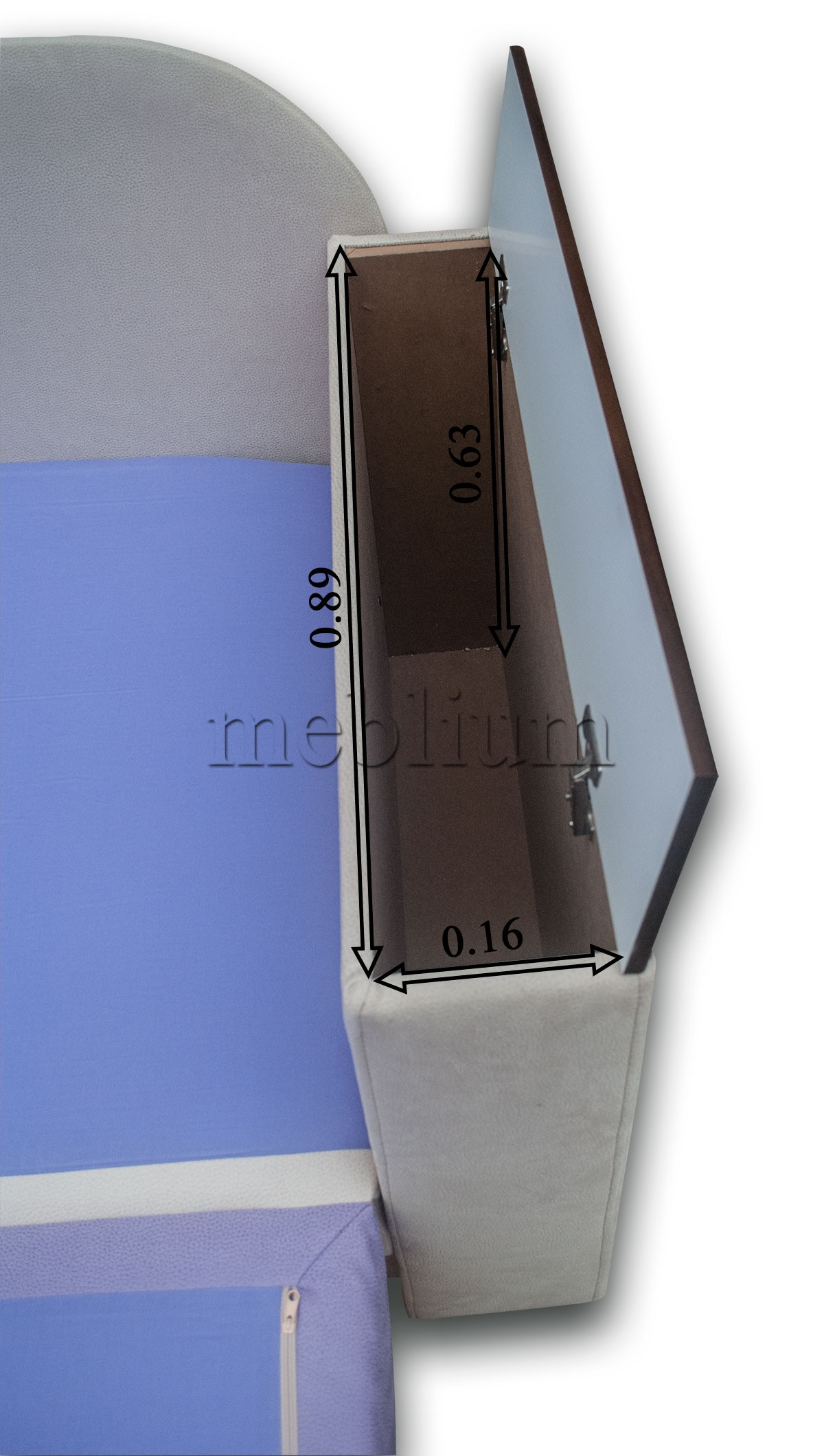 Софа Адель-89 Розмір вбудованої ніші до бильця
