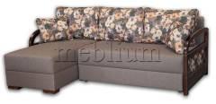 Угловой диван Аспект-12 Эпика сталь 191 + принт 03 Вариант обивки: весь диван - Эпика сталь 191, подушки - принт 03