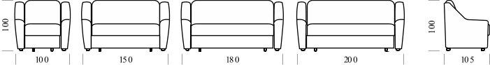 Диван Бостон 160-12 А также возможен вариант с такими размерами: