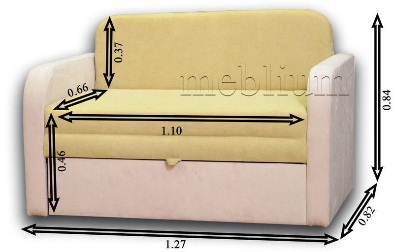 Диван Гном-М 110 -12 Габаритные размеры