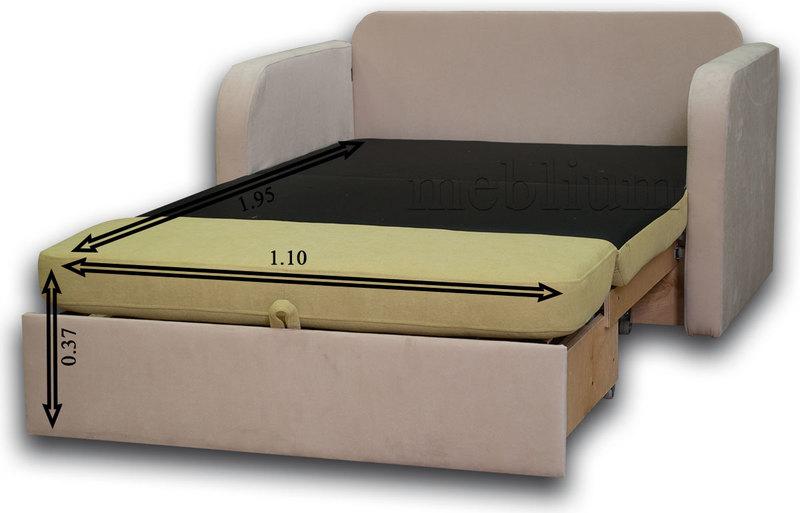 Диван Гном-М 110 -12 В разложеном виде