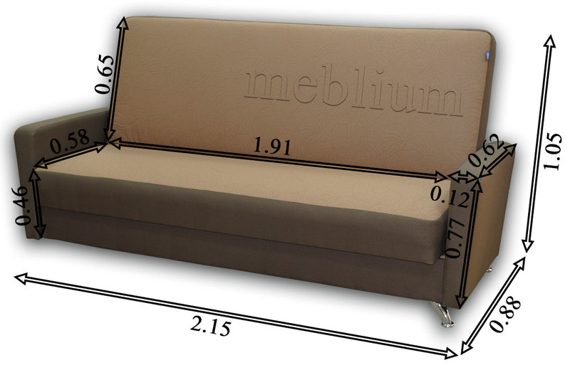Диван Триумф-12 Опера плум 649 + Опера виолет 653 Габаритные размеры