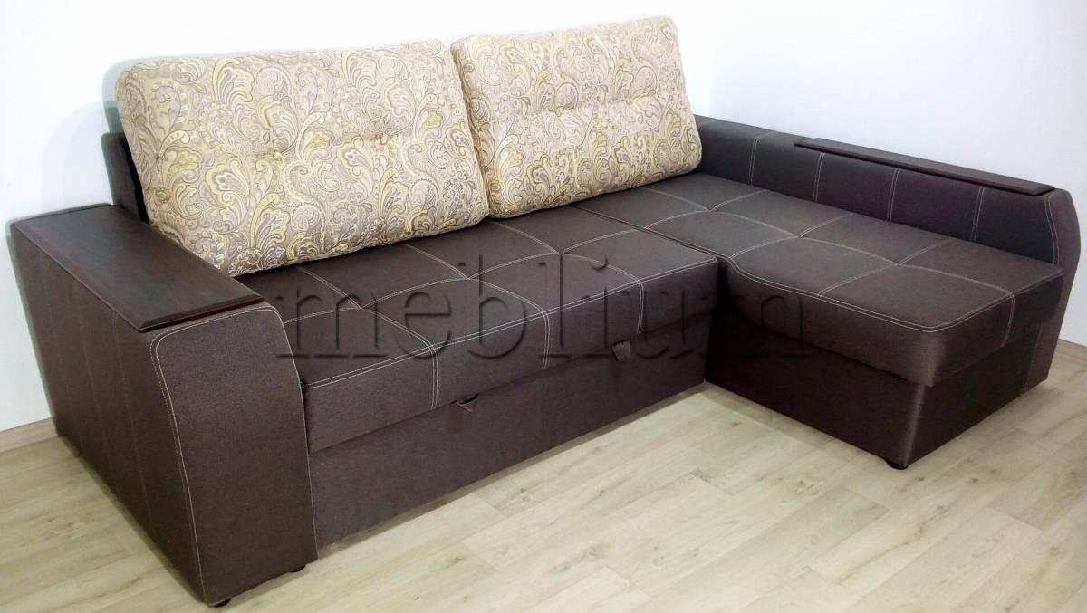Угловой диван Лорд с открытым боком -3 Lux12_Kor Ткань: Etna_Kofe