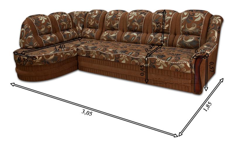 Угловой диван Барон 1А вариант Б-6 Питон 2222 Габаритные размеры: