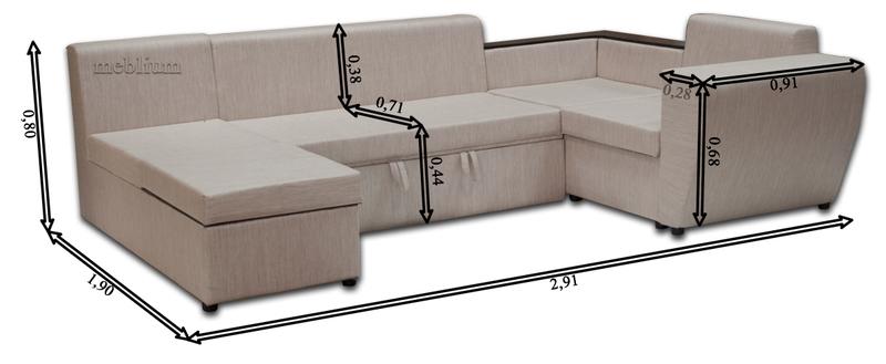 Угловой диван П-образный Цезарь -42 Габаритные размеры