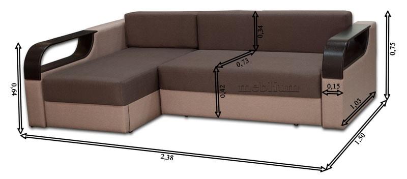 Угловой диван Лана -47 Габаритные размеры: