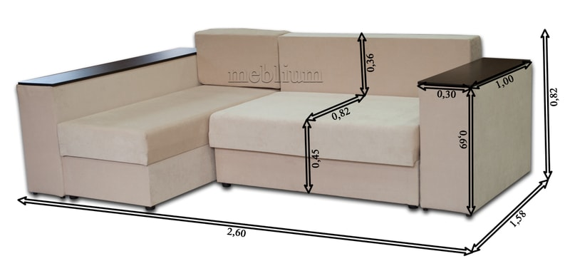 Угловой диван Оксфорд -42 Габаритные размеры