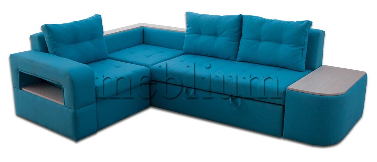 Угловой диван Голливуд -76 ТАКЖЕ ЭТУ МОДЕЛЬ ЗАКАЗЫВАЛИ В ТКАНИ : весь диван - Нео азур, дсп дуб молочный