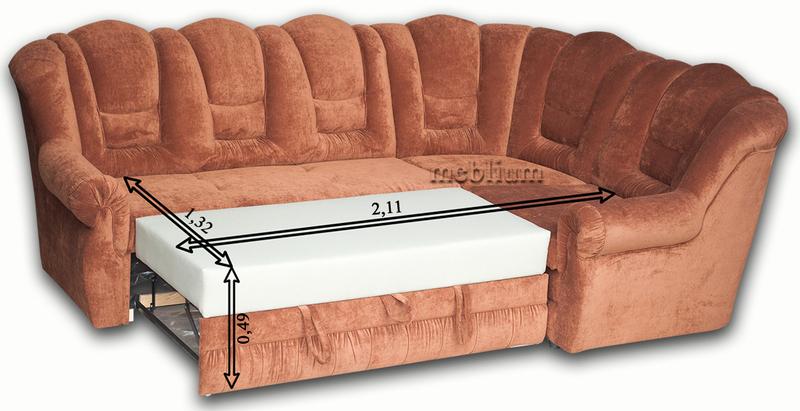 Диван угловой Князь-2 однотон Угловой диван Князь в розложенном состоянии: