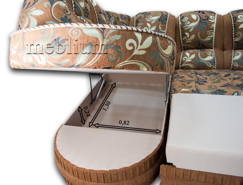 Угловой диван Барон 1А вариант Б-6 Питон 2222 Размеры ниши для белья: