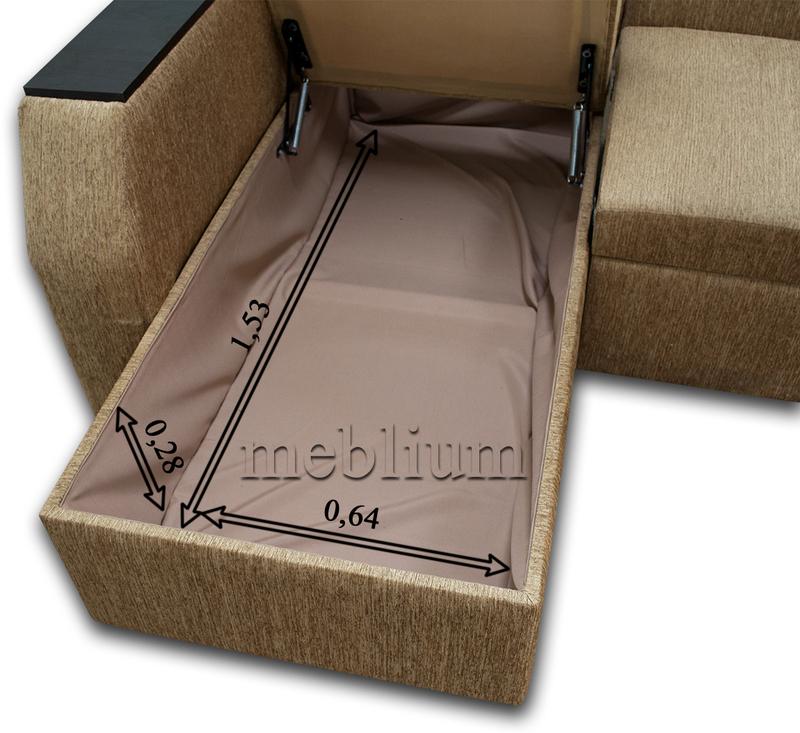 Угловой диван Лос-Анджелес New-10 Размеры ниши для белья: