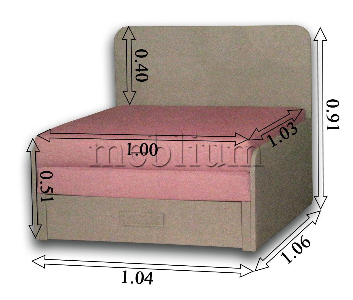 Диван Омега 1,00-42 комэт розовый, подушки бязь цветы