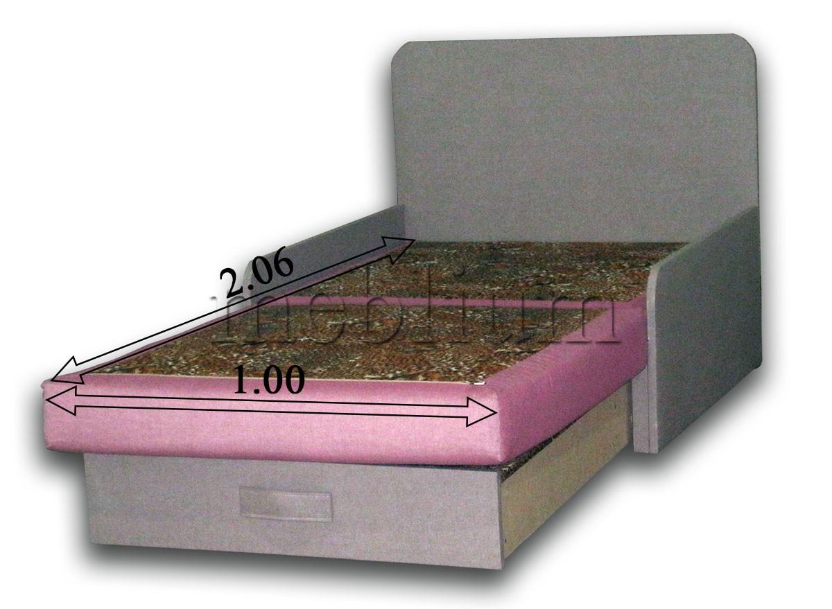 Диван Омега 1,00-42 комэт розовый, подушки бязь цветы в разложенном виде