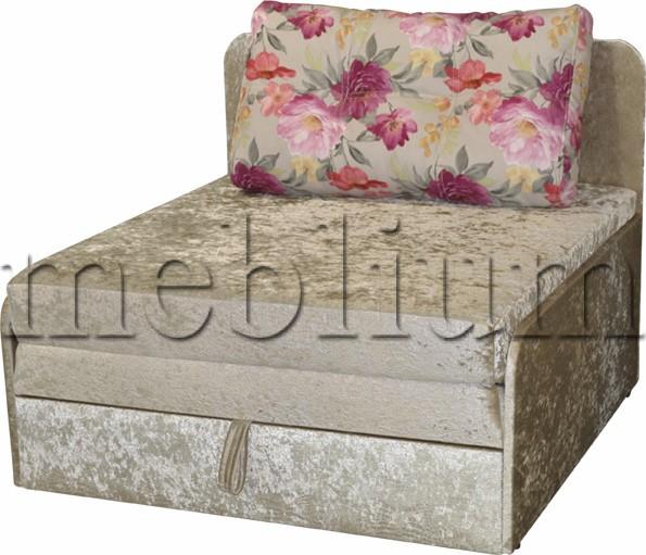 Диван Омега 1,00-42 комэт розовый, подушки бязь цветы ТАКЖЕ ЭТУ МОДЕЛЬ ЗАКАЗИВАЛИ В ТКАНИ:: велюр беж, подушка: цветы