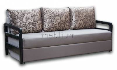 Диван Прадо-90 Вариант обивки: весь диван - Серый, подушки - Цветы