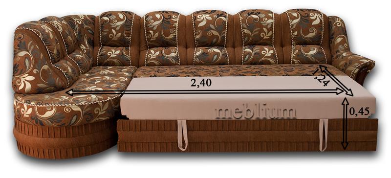 Угловой диван Барон 1А вариант Б-6 Питон 2222 В розкладеному вигляді