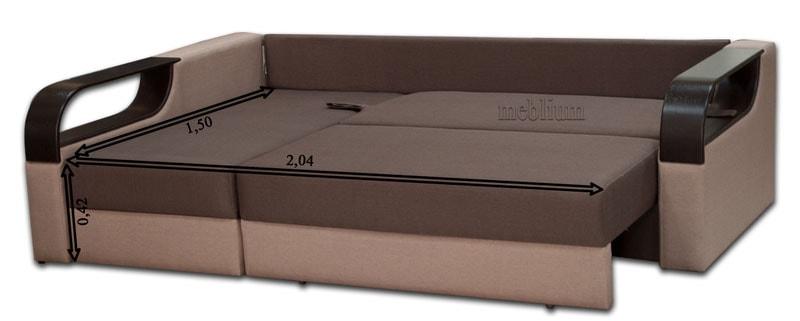 Угловой диван Лана -47 В розкладеному вигляді: