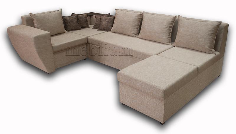 Угловой диван П-образный Цезарь -42 ТАКЖЕ ЭТУ МОДЕЛЬ ЗАКАЗЫВАЛИ В ТКАНИ :  Весь диван - Лючия 624, подушки Лючия 072