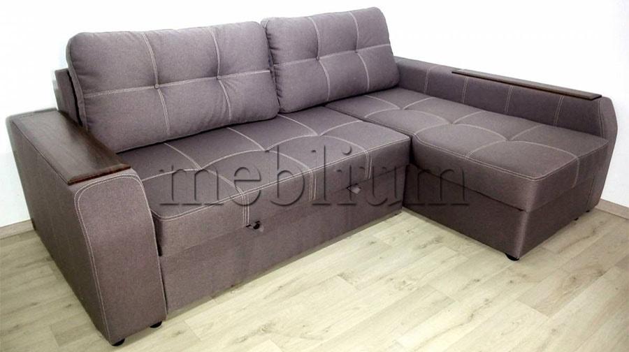 Угловой диван Лорето (+быльце ниша) -3 Ткань: Bonus_nova_mokko