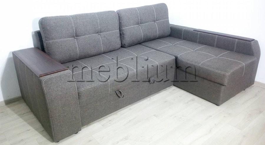 Угловой диван Лорето (+быльце ниша) -3 Ткань: Savanna_Cofe
