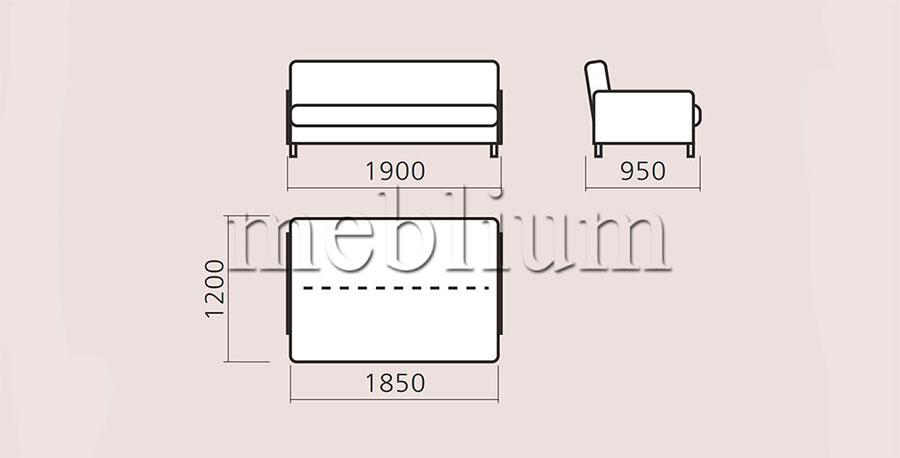 Диван-книжка бока ДСП -97 габаратні розміри: