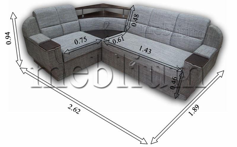 Угловой диван Эксо универсал -64 Габаритные размеры