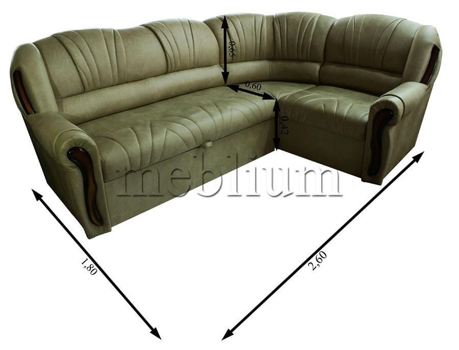 Угловой диван Лорд универсал -90 Габаритные размеры