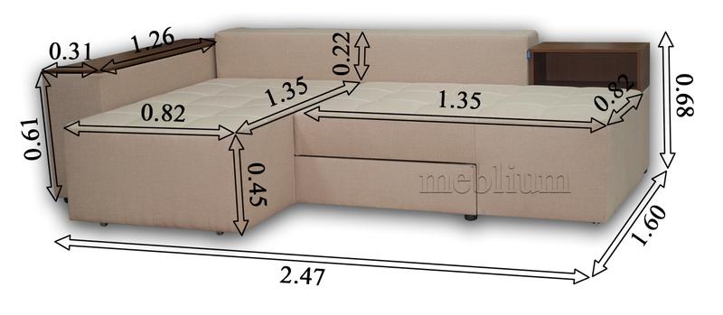 ПРОДАНО (МОЖНО ПОД ЗАКАЗ) Угловой Диван Meblium 19 -12 Savanna_Biter в разложенном виду
